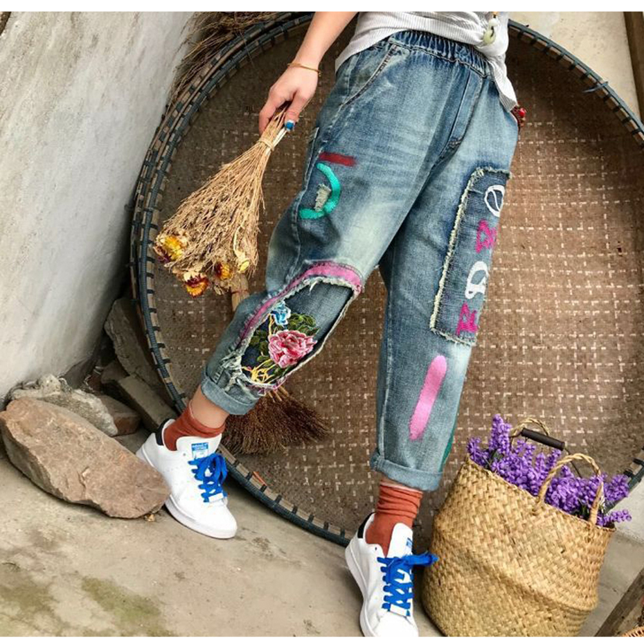 Painted Harem   Jeans   Denim Pants Trousers Loose for Women Embroidery Patches Big Size Vintage Fashion Casual American 2018 80225