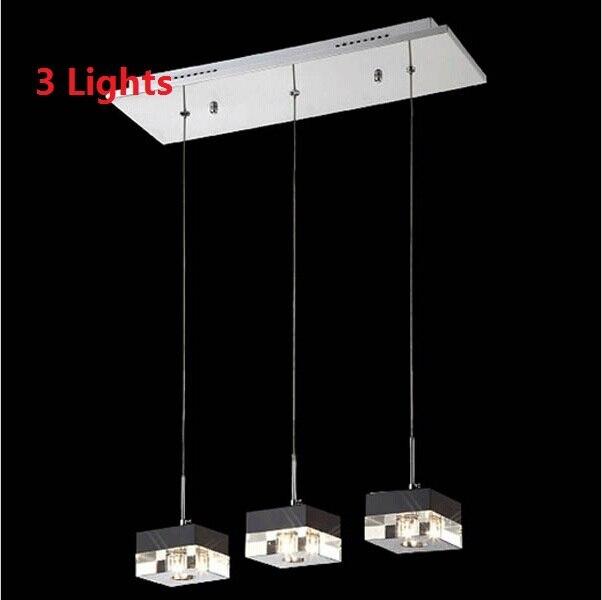Modern Crystal Block LED Pendant Lights Restaurant Hanging
