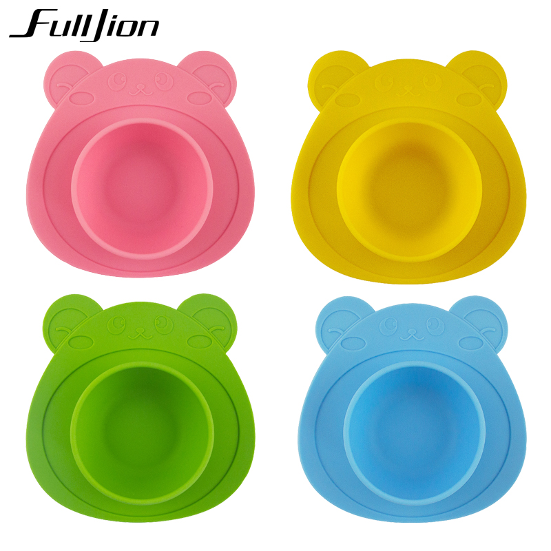 Fulljion Silicone Plate Solid Feeding Dishes Bowl Feed Toy Baby Tableware Food Container Plate For Children Placemat Suction Cup silicone integral placemat infant child dishes grid plate baby baby food dish cup