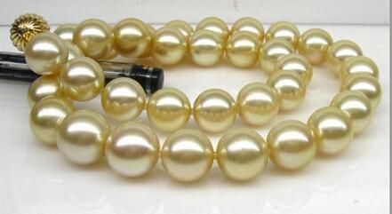 GorgeousAAA naturel 10-11mm mer du sud collier de perles en or 18inch14K> bijoux Quartz cristal femmes mariage