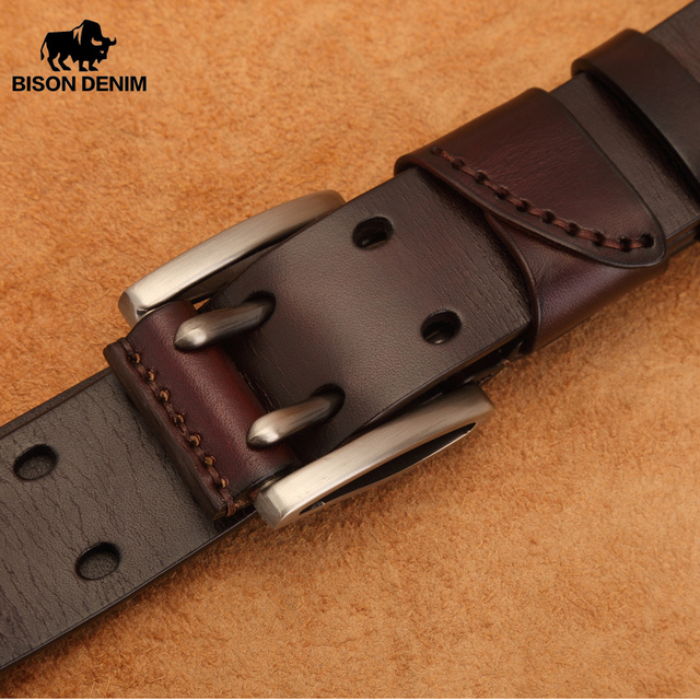 BISON DENIM Men's Genuine Leather Belt Vintage Jeans Belt Strap Double Pin Buckle Designer Leather Belts For Men Male Gift N7124