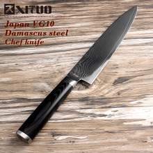 "XITUO nueva 8 ""pulgadas cuchillo de cocina chef alemán damasco vg10 cuchillo Hecho A Mano de Sharp Santoku Cuchillos Cuchillo Mikata mango cocinar herramientas"