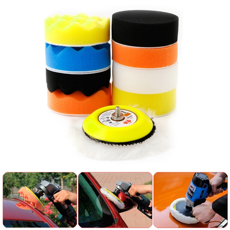 New 10Pcs/set 3 M6 Thread Polishing Buffing Buffer Pad Kit Car Polisher Air Sander ...