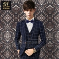 High-quality 2017 Men 's suit three - piece large size plaid suit suit male Korean Slim youth groom groomsman wedding dress