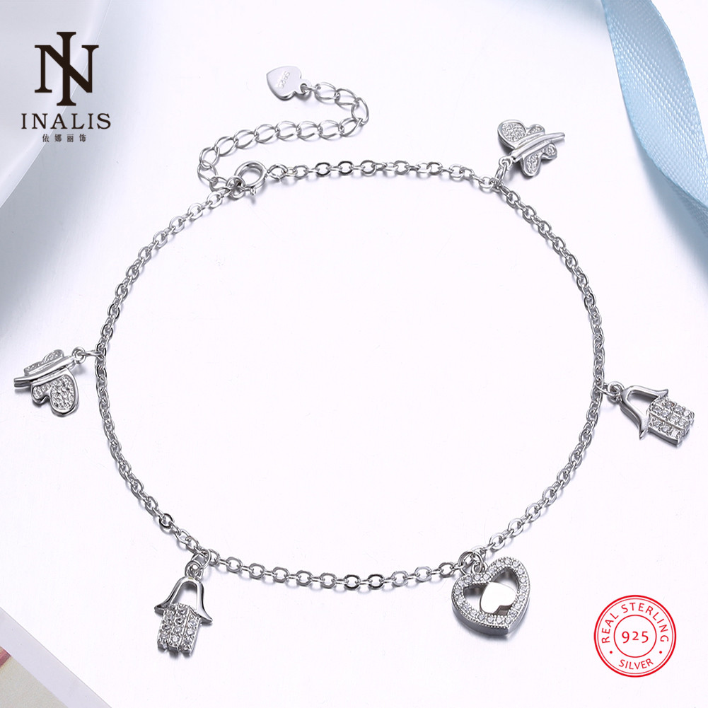 INALIS 925 Sterling Silver Anklet Fashion Dragonfly Heart Small Pendant Anklet For Women Girl Female Jewelry Wedding Gift