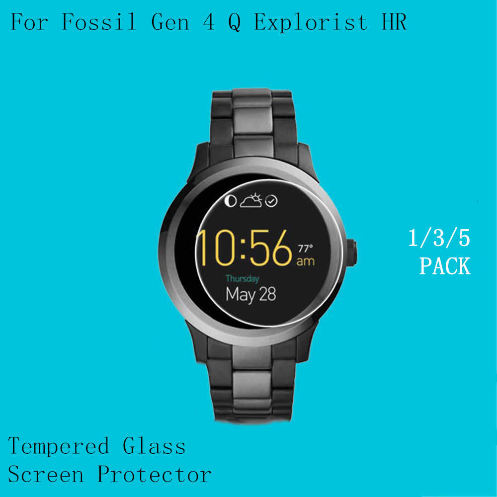 1/3/5 PACK Tempered Glass Protective Film Clear Guard For Fossil Q Explorist HR Gen 4 Screen Protector 2.5D Rounded edge 9H