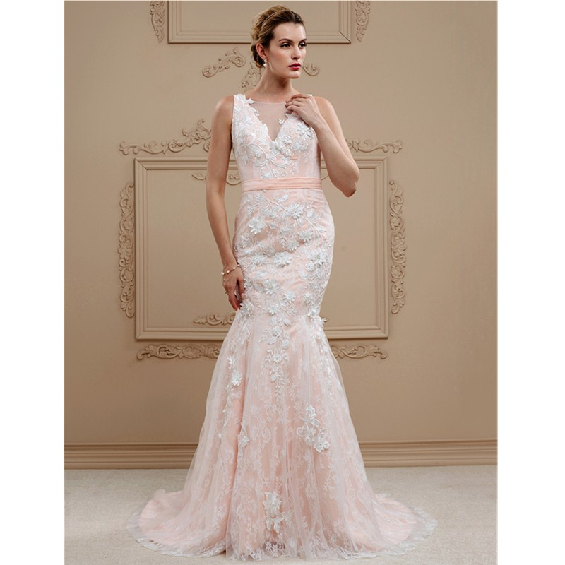 LAN TING BRIDE Mermaid / Trumpet Plunging Neckline Sweep / Brush Train Wedding Dress Lace Tulle with Buttons Sashes/ Ribbons