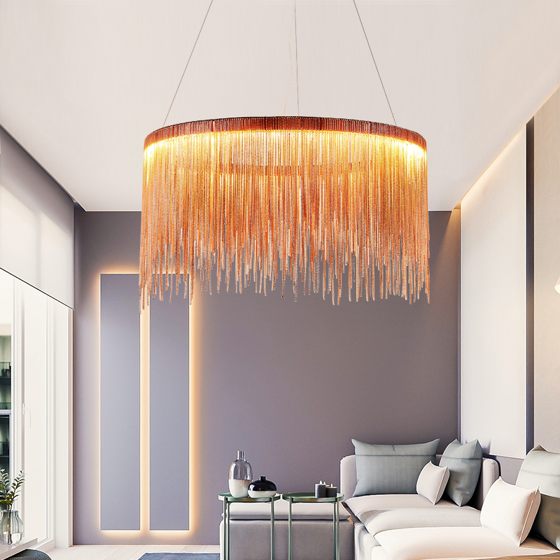 Modern high-end villa art personality lamps simple atmosphere chain chandelier Nordic bedroom living room restaurant lights zyy post modern simple restaurant chandelier art lights meteor shower villa stairs light living room bedroom led chandelier