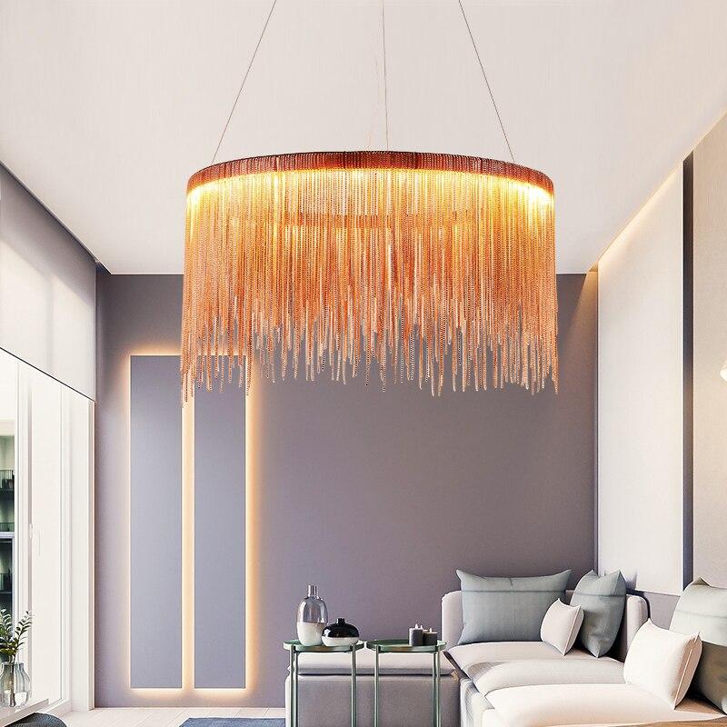 Moderna high-end villa di arte lampade di personalità semplice atmosfera catena lampadario Nordic camera da letto soggiorno luci ristorante
