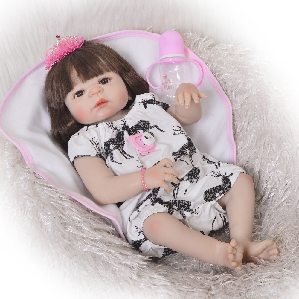 New Arrival 23'' 57 cm Reborn Doll Full Silicone Body Lifelike Princess Girl Baby Toy Doll For Child Birthday Gift Kids Playmate new arrival 23 57cm baby girl doll full silicone body lifelike bebe reborn bonecas handmade baby toy for kids christmas gifts