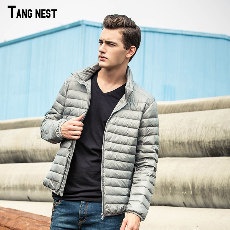 TANGNEST Mens Casual Down Jacket 2018 New Fashion Winter Wear Thin Coat Male White Down Solid Warm Zipper Jackets MWY213
