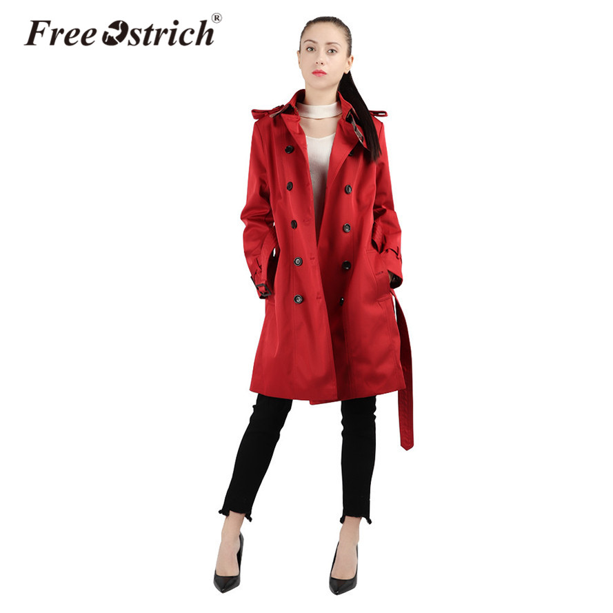 Free Ostrich 2019 Autumn Woman Classic Double Breasted   Trench   Coat Waterproof Raincoat Business Outerwear Sep15