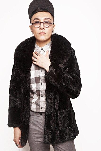 3XL Плюс Размер Мужской Искусственного Меха Норки Пальто Вскользь Мужчин Slim теплый Толстый Искусственного Фокс Меховым Воротником Длинные Куртки Черный Хаки AYR16