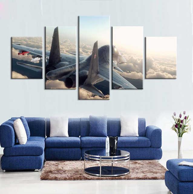 5 sztuk Oprawione Nowoczesne Drukowane Samoloty Płótnie Malarstwo Walki Fighter Niebieski Sky Dekoracje Ścienne Sztuka Obraz Do Salonu