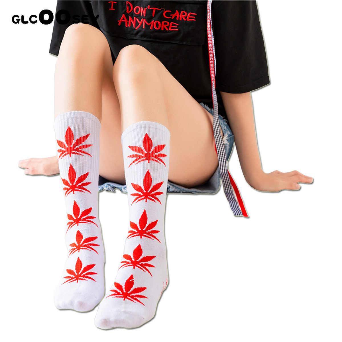 ใหม่ 1 คู่สาวสบายๆกีฬา Maple ใบผู้ใหญ่ถุงเท้าผู้หญิง Hemp leaf ที่มีคุณภาพสูงผ้าฝ้ายถุงเท้ากลาง - ยาวหญิงวัชพืชถุงเท้าลูกเรือ