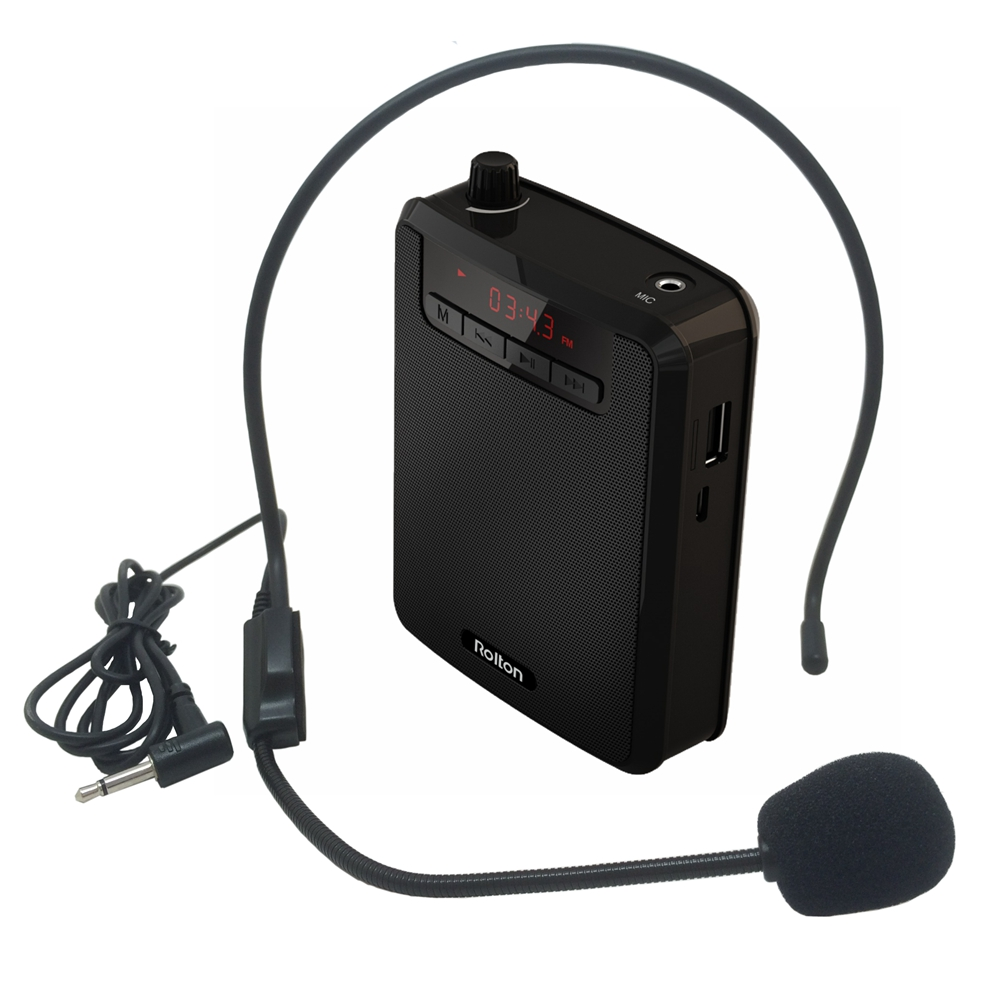 Rolton Portable Voice Amplifier Waist Band Clip with FM TF MP3 Powerbank for Tour Guides, Teachers Teaching Microphone