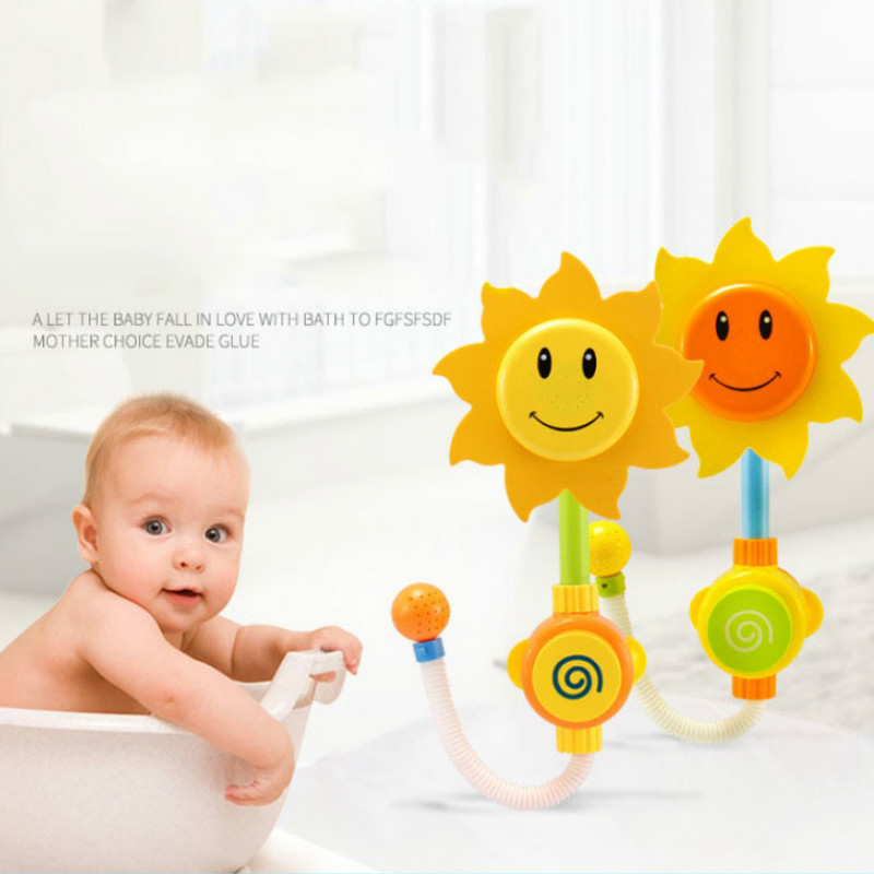 2 PCS Baby Funny Water Game Bath Toy Sunflower Shower Faucet Baby Bath Spout Play Swimming Bathroom Toys Summer Bathing
