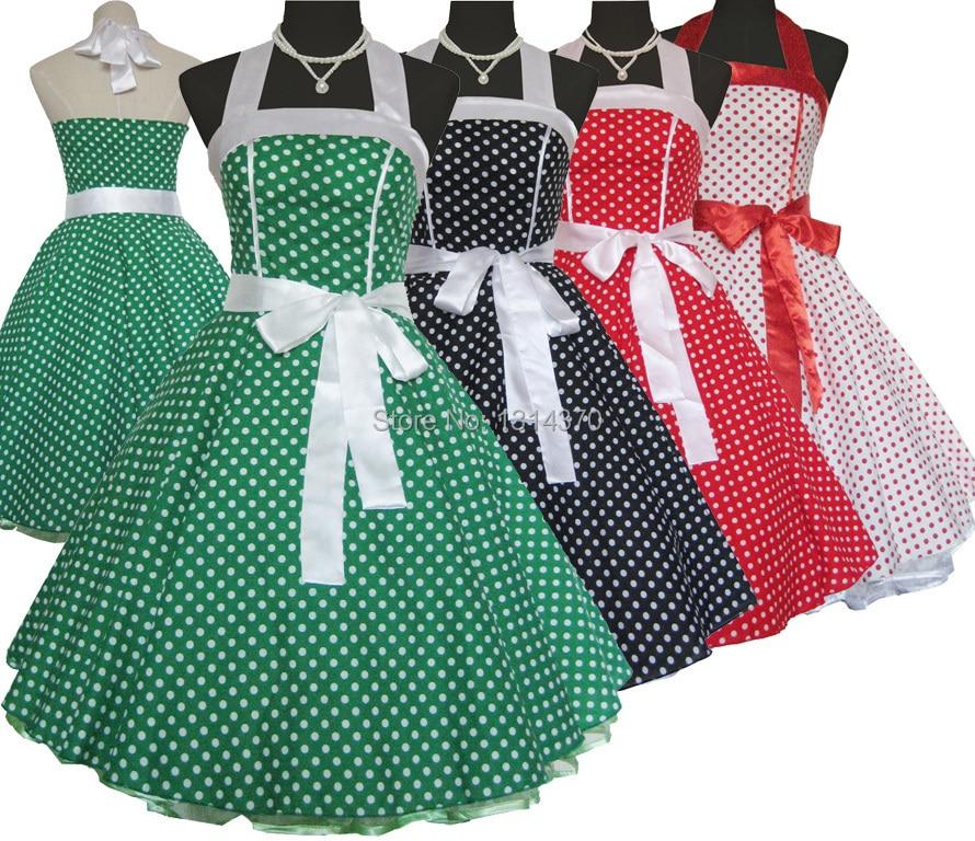 Dámské šaty Vintage Šaty 50s 60s styl Polka Dot Retro šaty Pin Up Casual Plesové šaty Společenské šaty Vestidos Longos de verao