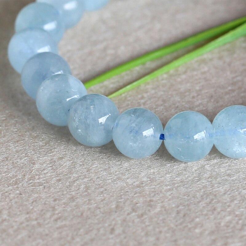 """10 Mm Naturel Facette Bleu Clair Aigue-Marine Pierres Précieuses Perles Rondes Collier 18/"""""""