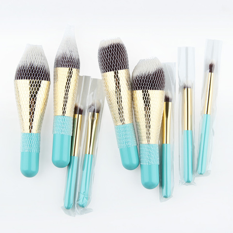 Anmor Hot Sale 9 Pieces Synthetic Hair Makeup Brushes with Sliver Color Bag Beautiful Traveling Makeup Brush Set B001 Multan