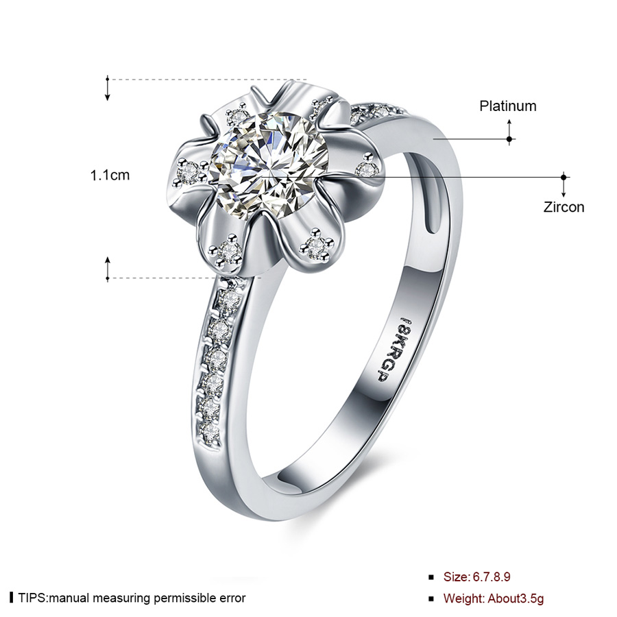Flower Ring Silver Plated Crystal Zirconia Womens Cheap Rings