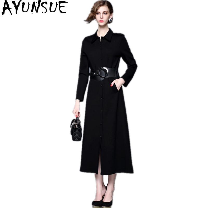 Robes Ayunsue Tricoté Femelle Noir Robe Noire Wyq1418 Femmes Soirée Élégante Longue Printemps Maxi Parti Femme Nouvelle 2018 Automne 7Ugqx1nT7