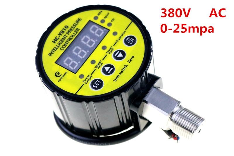 AC 380 V 0-25Mpa compresseur d'air pressostat numérique manomètre relais sortie