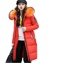 2017 New Fashion Winter Jacket Women Candy Color Large Fur Collar Female Epaulet Winter Coat For
