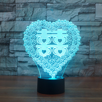 7 Colors Changing 3D USB Sleep Light Fixture Heart Shape Double Happiness Table Lamp Chinese Wedding Room Decor Night Light Gift
