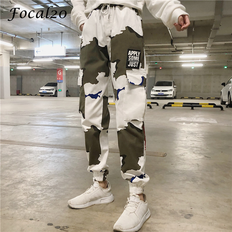 Focal20 Streetwear Letter Print Camouflage Women Pants Elastic Waist Pocket Pants Full Length Loose Pants Trousers 4