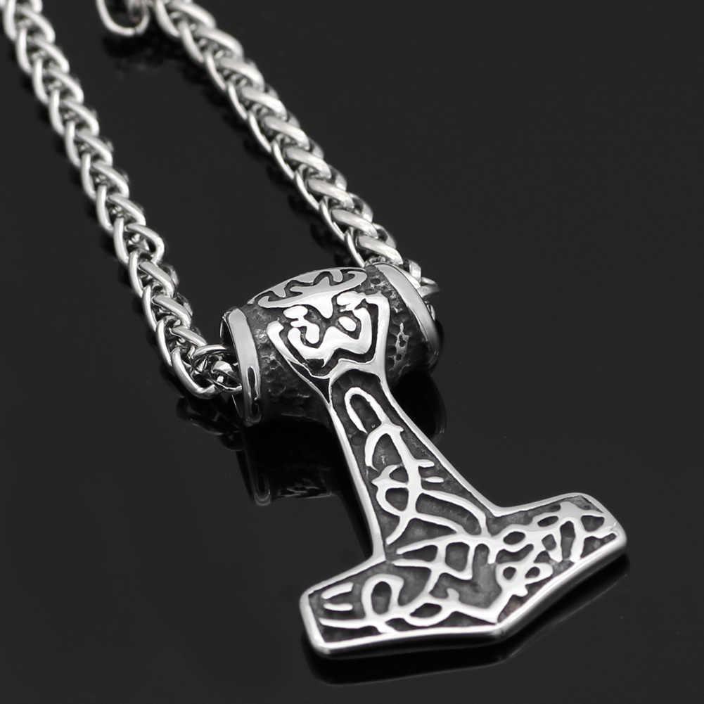 316L Rvs Noorse God Viking Odin Wolf THOR HAMER MJOLNIR HANGER Ketting