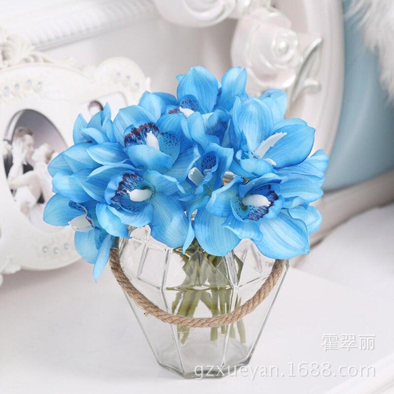 1 Bunch 6 Köpfe Cymbidium Kurze Schießen Dekoration Künstliche Orchidee Blume Weihnachten Diy Hochzeit Braut Hand Blumen Wohnkultur