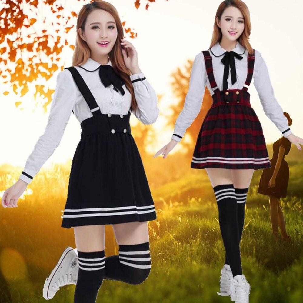 81f68183b7 Korean School Uniform Girls Navy Sailor Suit For Women Japanese School  Uniform Clothes Cotton White shirt + Plaid Straps Skirt-in School Uniforms  from ...