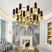 Modern Chandeliers Golden Black Ceiling lamps Metal LED Hanglamps For Living Room Dinning Room Kitchen Fixtures Lighting