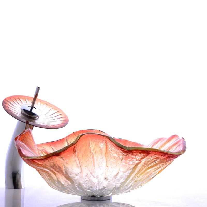 強化新しい浴室ガラス洗面クリエイティブクリスタルガラス張りアート流域フラワー形状ガラスシンク盆地シンクLO622525  グループ上の 家のリフォーム からの バスルームのシンク の中 1