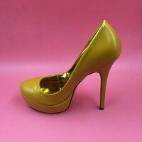Deep Yellow Slip-ons Thin High Heels Mulheres Sapatos De Salto Alto High Heel Pumps Women Thick Platform Shoes Women Real Image