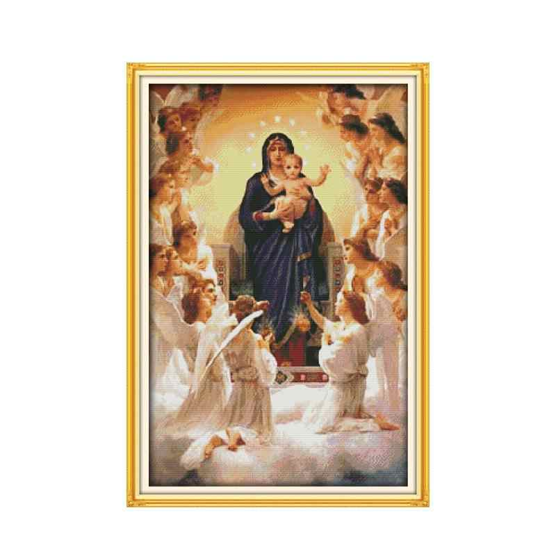 Madonna und Kind 11CT 14CT Handmade Kreuz-stich Kit Jesus Christus Christentum Religion Dekoration Stickerei Gemälde