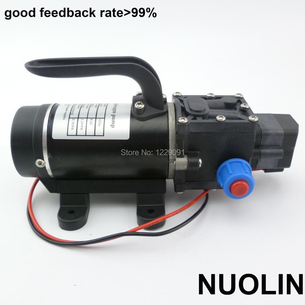 Купить с кэшбэком 100w 8Lpm small electric dc 12v 24v diaphragm water pump automatic pressure switch high pressure self priming spray pump