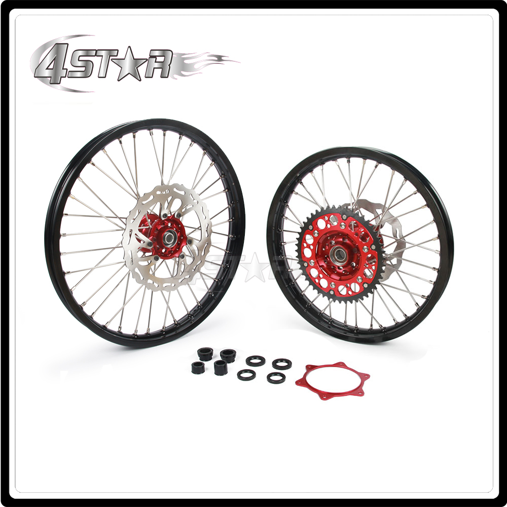 Motorcycle Wheel Rim Hubs Set 1.6-21 2.15-19 For HONDA CRF250R CRF 250R 2015 2016 2017 CRF450R CRF 450R 2015 2016 2017 for honda crf 250r 450r 2004 2006 crf 250x 450x 2004 2015 red motorcycle dirt bike off road cnc pivot brake clutch lever