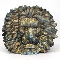 Lion Head Statue 5.0 Natural Gemstone Labradorite Crystal Carved Sculpture Home Decor
