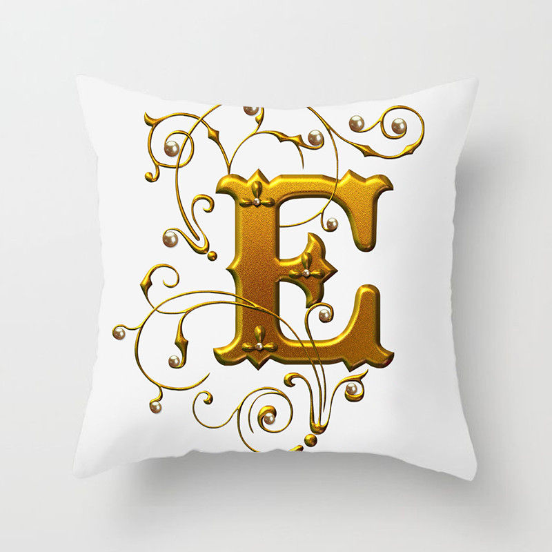 Gold Floral Letter Cushion Cover Best Children's Lighting & Home Decor Online Store