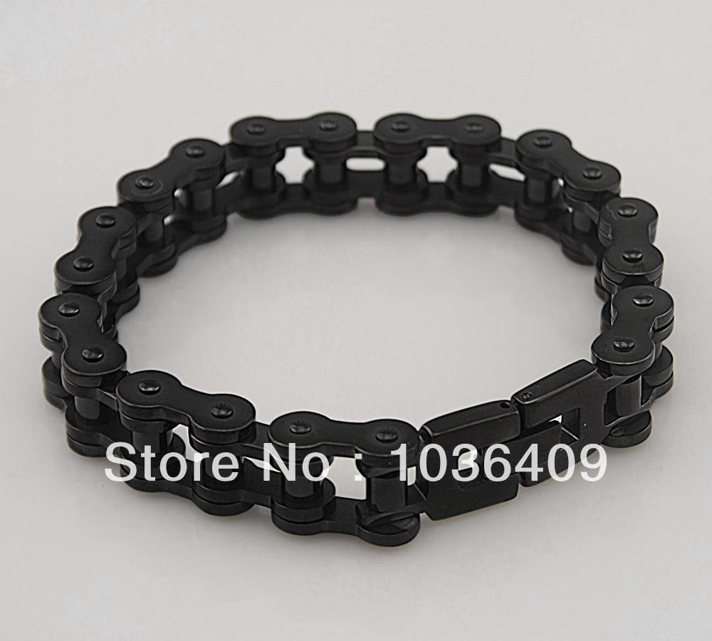 8e9014db842fb Black Stainless Steel Mens Motorcycle Bike Chain Bracelet