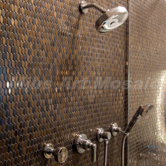 Tiles Round Copper Bathroom Wall