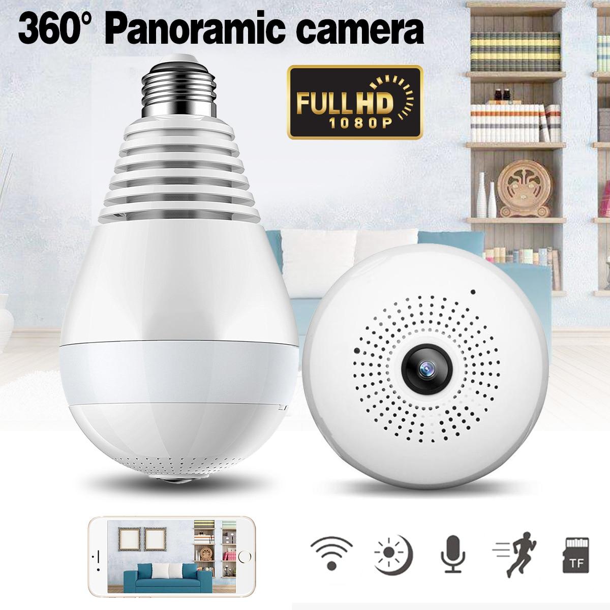 960 1080 p 360 grados cámara IP inalámbrica bombilla FishEye panorámica cámara casera 1.3MP seguridad P2P WiFi Cámara