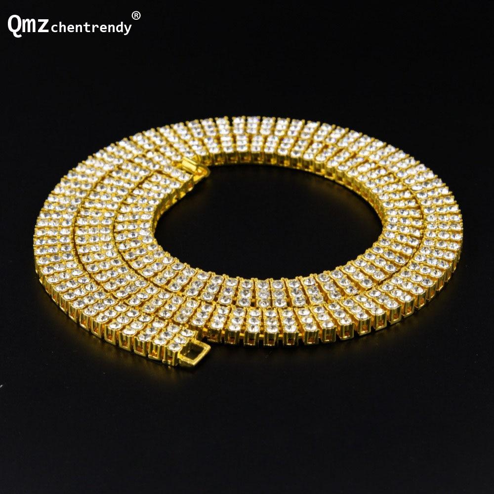 Haute qualité Hip Hop glacé 3 trois rangées pierre Bling Tennis chaîne colliers pharaon CZ collier femmes hommes bijoux fins