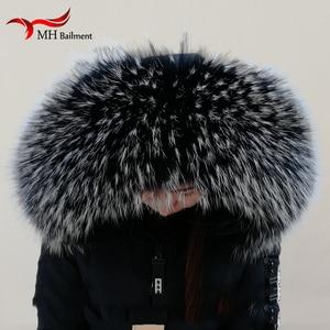 Image 1 - Женское зимнее пальто, женская теплая шаль, толстая шаль из енота, зимний теплый шейный обогреватель, 100% натуральная куртка, меховой воротник, шарф из натурального меха 6