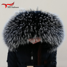 Women Winter Coat Female Warm Shawl Thick Raccoon Fur Collar Scarves Neck Warmer 100% Natural Jacke Fur Collar Real Fur Scarf 6
