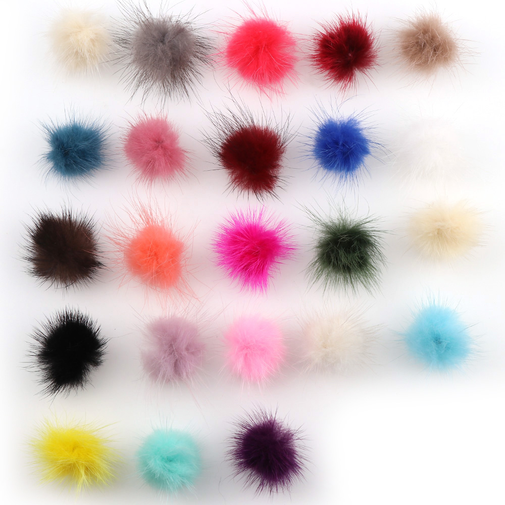 10pcs 3cm Mink Fur Ball Pompoms For  Ring Earring Shoes Clothes Sewing On Knitted Keychain Scarf  DIY Jewelry Findings