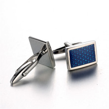 1 Pair New Brand Square Shape Cuff Button Blue Rhinestone Cuff link High Quality Shirt Cufflinks for Men Business Style pair of chic police box shape cufflinks for men