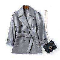 Genuine Leather Jacket Women Bouble Breasted 100% Real Sheepskin Sheep Runway Designer Luxury Trench Jacket Outerwear Coat